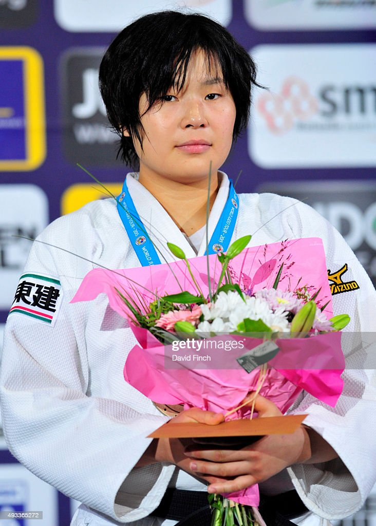 Under 78kg bronze medallist, <a gi-track='captionPersonalityLinkClicked' href=/galleries/search?phrase=Akari+Ogata&family=editorial&specificpeople=6583429 ng-click='$event.stopPropagation()'>Akari Ogata</a> of Japan, during the 2015 Paris Grand Slam at the Bercy-Paris Arena on October 17, 2015 in Bercy, Paris, France.