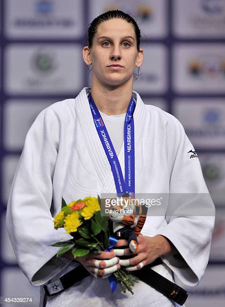 Under 78kg bronze medallist Anamari Velensek of Slovenia during the Chelyabinsk Judo World Championships at the Sport Arena 'Traktor' on August 29...