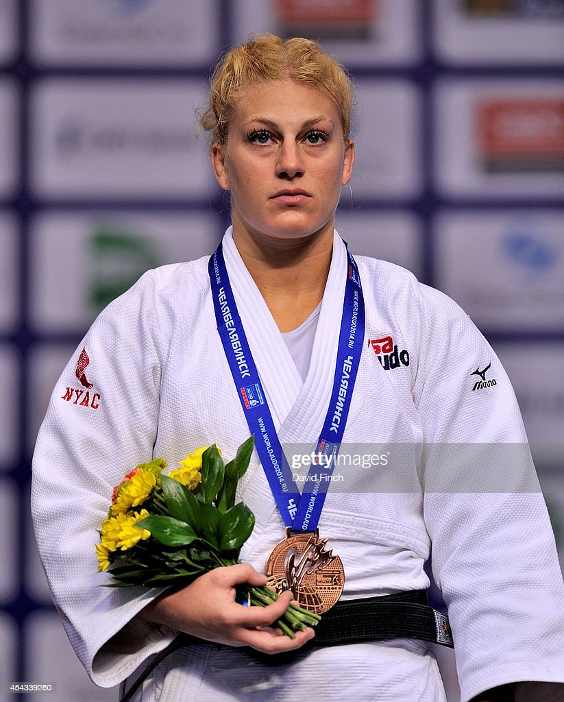 Under 78kg bronze medallist and London Olympic champion, Kayla Harrison of the USA stands during the Brazillian anthem during the Chelyabinsk Judo World Championships at the Sport Arena 'Traktor' on August 29, 2014 in Chelyabinsk, Russia.