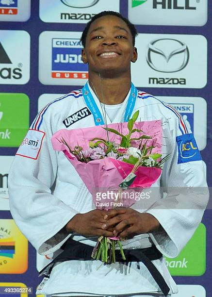 Under 78kg gold medallist Audrey Tcheumeo of France during the 2015 Paris Grand Slam at the BercyParis Arena on October 17 2015 in Bercy Paris France