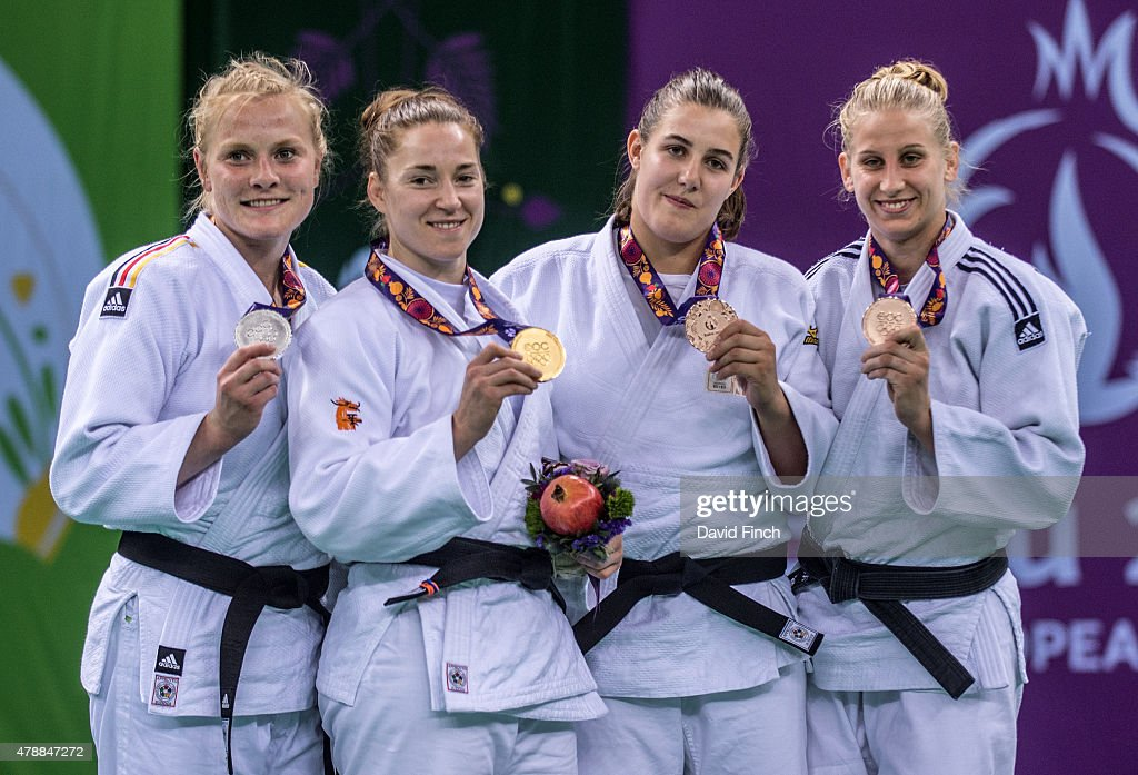 Luise Malzahn of Germany (Silver), Marhinde Verkerk of the Netherlands (Gold), <a gi-track='captionPersonalityLinkClicked' href=/galleries/search?phrase=Guusje+Steenhuis&family=editorial&specificpeople=12462854 ng-click='$event.stopPropagation()'>Guusje Steenhuis</a> of the Netherlands (Bronze) and Anamari Velensek of Slovenia during the 2015 Baku European Judo Championships at the <a gi-track='captionPersonalityLinkClicked' href=/galleries/search?phrase=Heydar+Aliyev&family=editorial&specificpeople=2596469 ng-click='$event.stopPropagation()'>Heydar Aliyev</a> Arena, Baku, Azerbaijan.