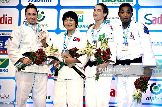 Under 78kgs medal ceremony Silver Marhinde Verkerk NED Gold Kyong Sol PRK Bronzes Mayra Aguiiar BRA and Audrey Tcheumeo FRA at the Rio World Judo...