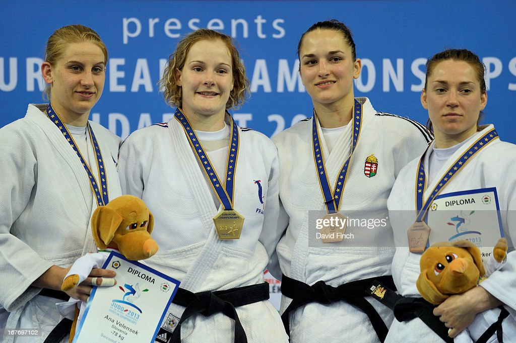 silver medalist Ana Lelensk (Slovenia), gold medalist Lucie Louette (France), bronze medalists Abigel Joo (Hungary) and Marhinde Verkerk (Holland) during the Budapest European Championships at the Papp Laszlo Sports Hall on April 27, 2013 in Budapest, Hungary.