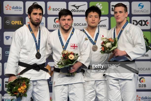 Under 90kg medallists Silver Khusen Khalmurzaev of Russia Gold Beka Gviniashvili of Georgia Bronzes Daiki Nishiyama of Japan and Mihael Zgank of...
