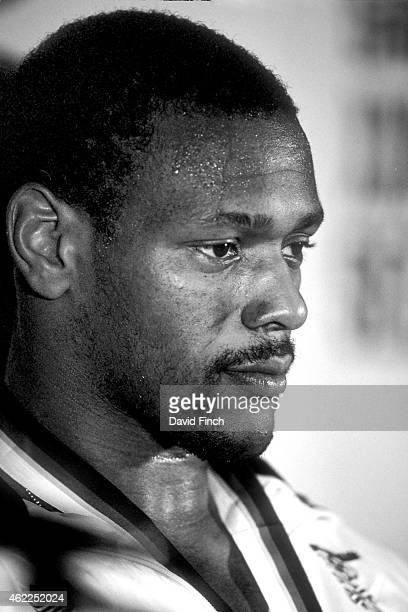 Under 95kg bronze medallist Dennis Stewart of Great Britain at the press conference following the medal ceremony during the Olympic Judo at the...