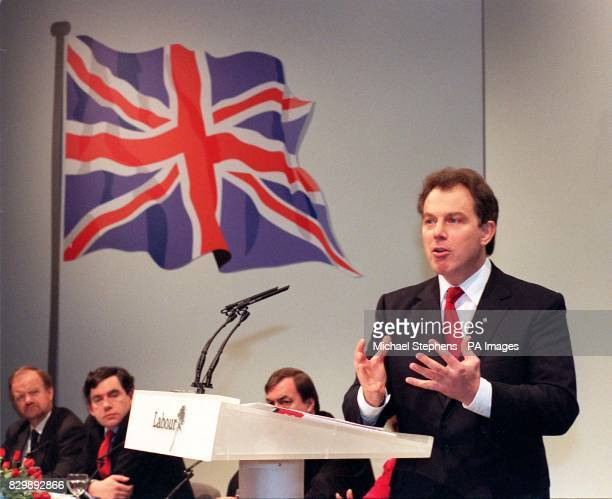 Under a huge Union Jack image Labour leader Tony Blair speaks during a news conference in the party's media centre in Millbank central London this...