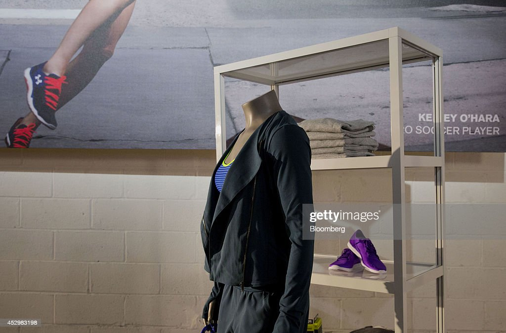 Under Armour Inc. women's apparel is displayed on a mannequin during a news conference in New York, U.S., on Thursday, July 31, 2014. Under Armour Inc., the maker of compression T-shirts and other athletic apparel, launched its most expansive global women's marketing campaign. Photographer: Jin Lee/Bloomberg via Getty Images