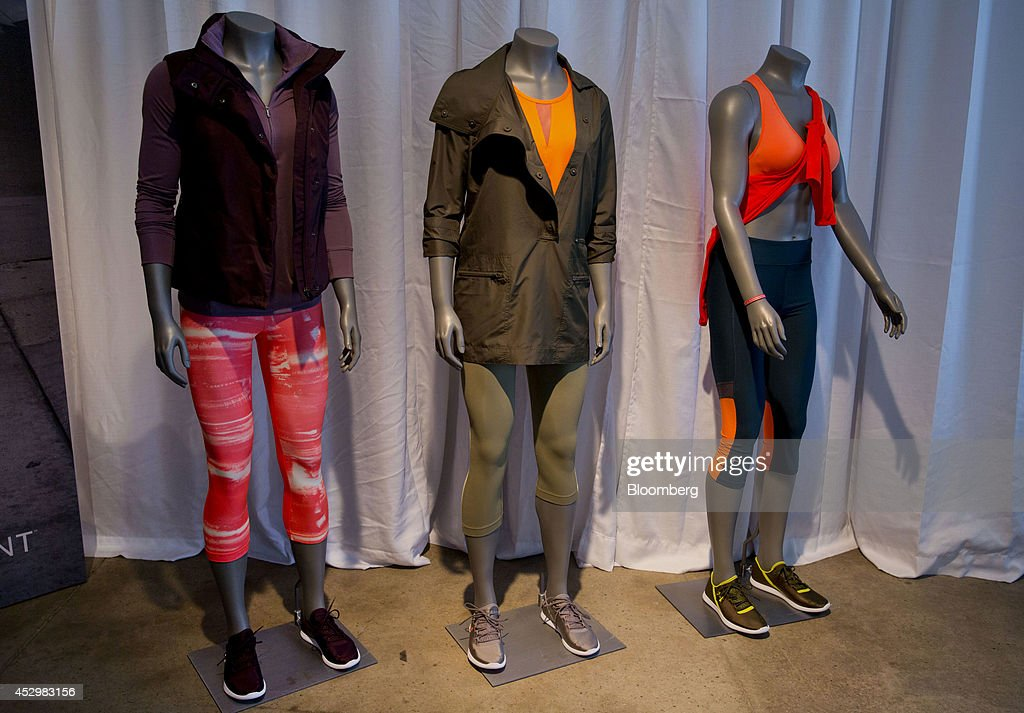 Under Armour Inc. women's apparel is displayed on mannequins during a news conference in New York, U.S., on Thursday, July 31, 2014. Under Armour Inc., the maker of compression T-shirts and other athletic apparel, launched its most expansive global women's marketing campaign. Photographer: Jin Lee/Bloomberg via Getty Images