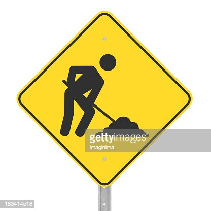 Under Construction Sign with Clipping Path