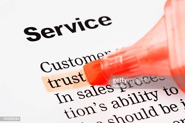 """Unter der Rubrik """"Service"""" das Wort """"trust"""" ist in orange"""