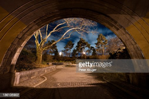 Under one of overpasses in Carl Schurz Park in Man