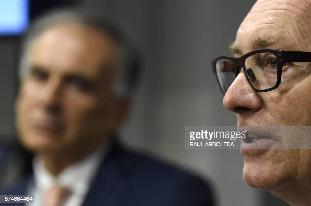 UN under secretary general for political affairs Jeffrey Feltman and Head of the UN Mission to Colombia Jean Arnault attend a press conference in...