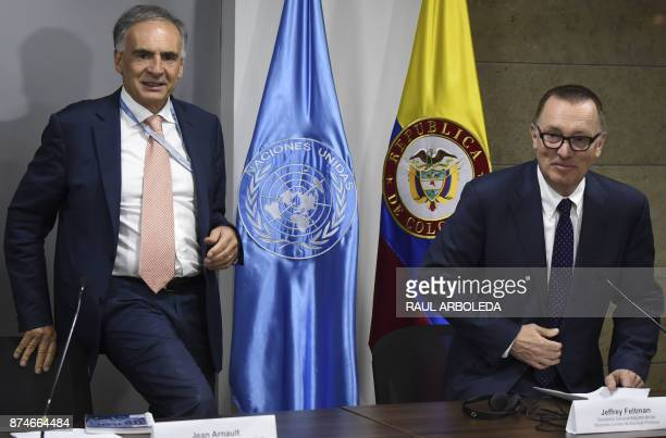 UN under secretary general for political affairs Jeffrey Feltman and the Head of the UN Mission to Colombia Jean Arnault attend a press conference in...