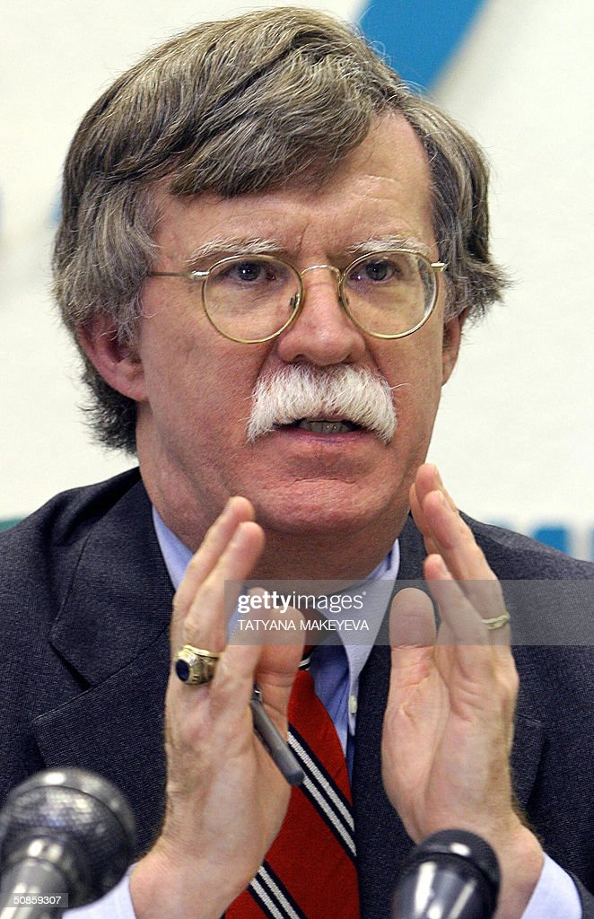 US Under Secretary of State for Arms Control and International Security John Bolton gestures during his press conference in Moscow, 20 May 2004. Bolton met Russia's Deputy Foreign Minister Sergei Kislyak for talks focusing on the spread of weapons of mass destruction and the potential threats posed by North Korea and Iraq.