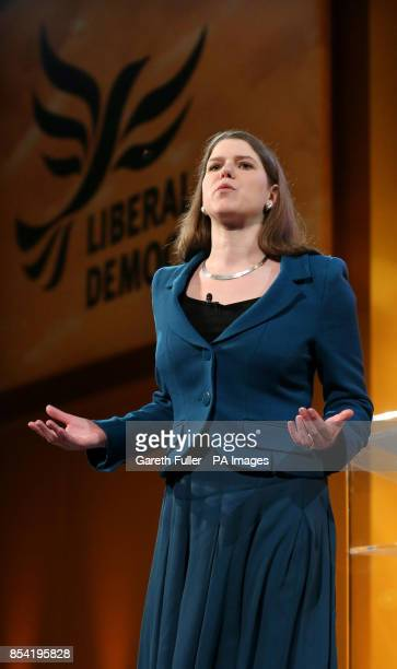 Under Secretary of State for Employment Relations Jo Swinson delivers her speech at the opening rally of the Liberal Democrat's Spring Conference at...