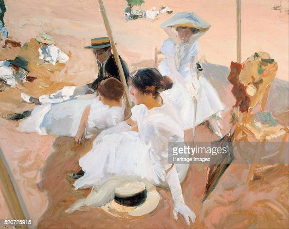 Under the awning on the Beach at Zarautz Found in the collection of Museo Sorolla Madrid