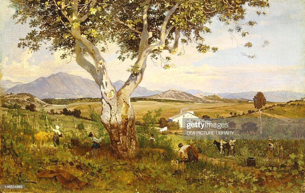 Under the big chestnut tree ca 1880 Francis Gioli oil on canvas 35x55 cm