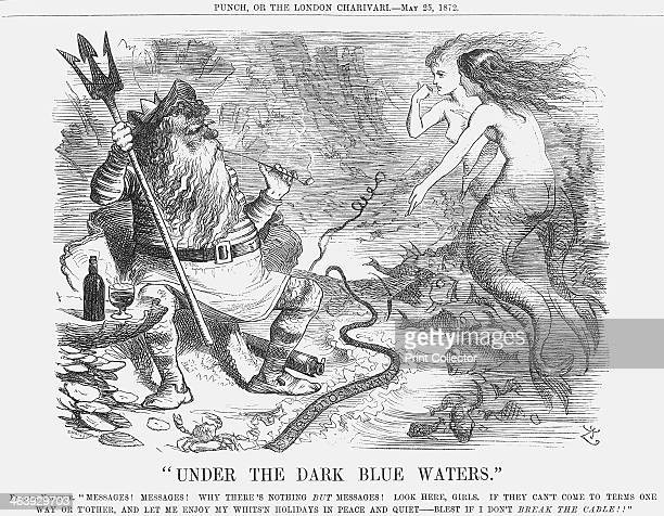 Under the Dark Blue Waters 1872 Father Neptune wishes to relax with his drink and a pipe In front of him is the transAtlantic cable the first of its...