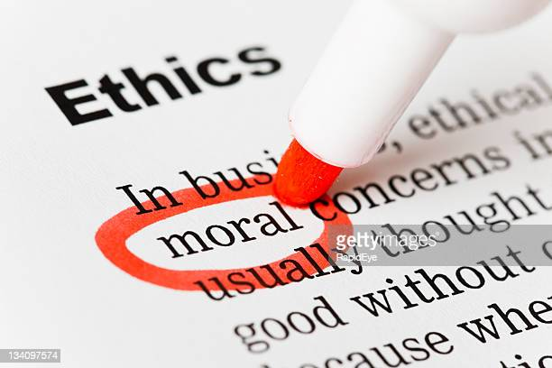 "Under the heading ""Ethics"", ""moral"" is highlighted in red."