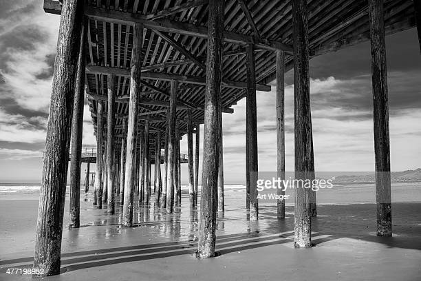 Under the Pismo Beach Pier Black and White