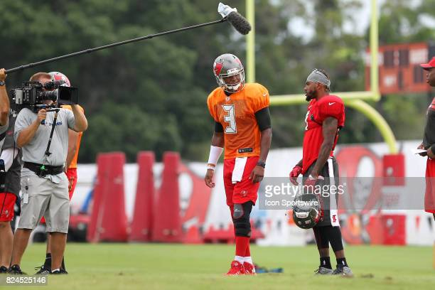 Under the watchful eyes of NFL Films and HBO's Hard Knocks Jameis Winston and DeSean Jackson share a few words during the Tampa Bay Buccaneers...