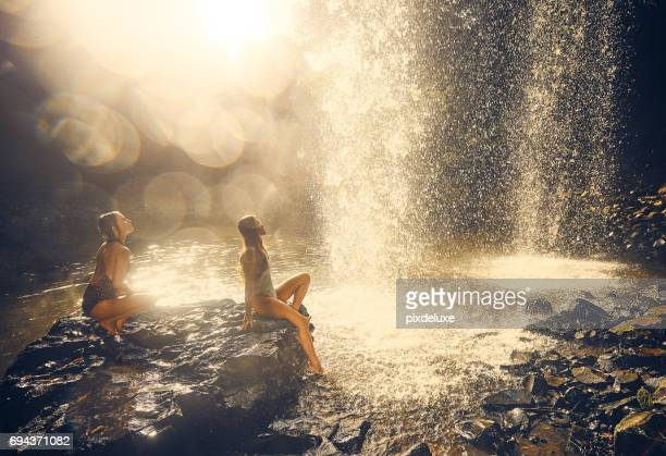 Under the waterfall is the best place to be