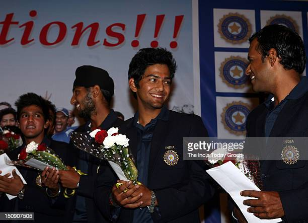 Under19 World Cup captain Unmukt Chand with other teammates during the felicitation ceremony on Tuesday August 28 2012