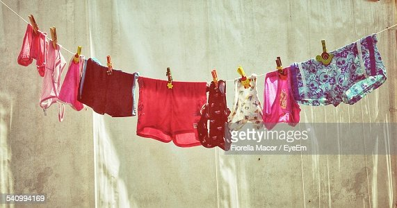 Undergarments Hanging On Clothesline Outdoors