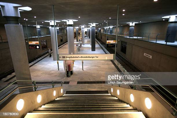 GERMANY BERLIN Underground Berlin station Bundestag But only on the left side run underground trains