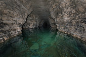 Underground lake in an ancient gypsum quarry collapsing