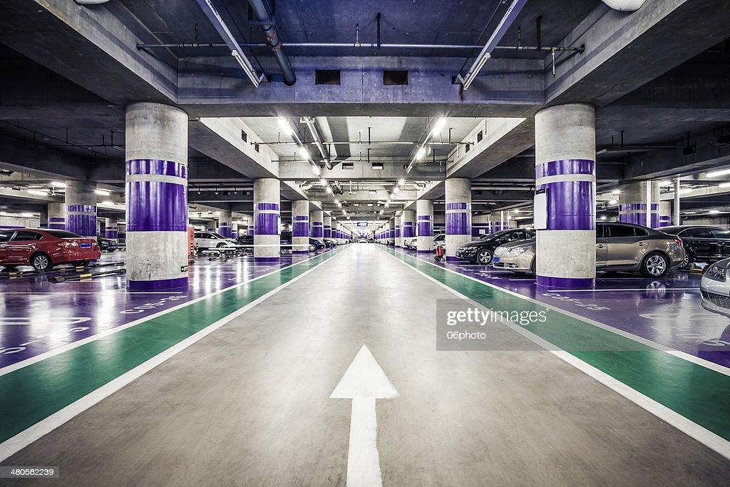 Underground parking aisle : Stock Photo
