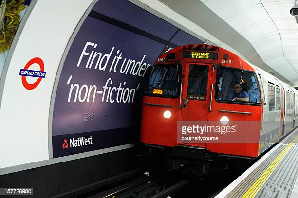 Underground Train Entering Oxford Circus Tube Station London
