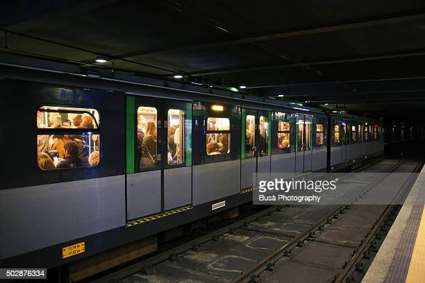 Underground tunnel of subway system in Milan, Italy