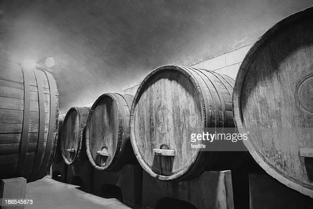 Underground Wine Cellar with wooden barrels