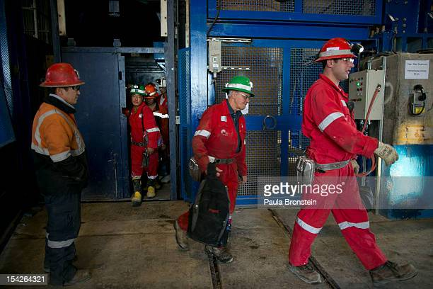 Underground workers come up after their 12 hour shift at shaft at the Oyu Tolgoi mine October 12 2012 in the south Gobi desert Khanbogd region...