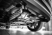 Underneath a car
