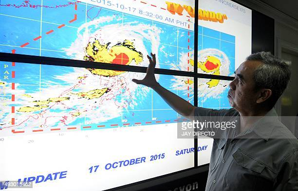 Undersecretary Alexander Pama head of the National Disaster Risk Reduction and Management Council gives a briefing on Typhoon Koppu locally known as...