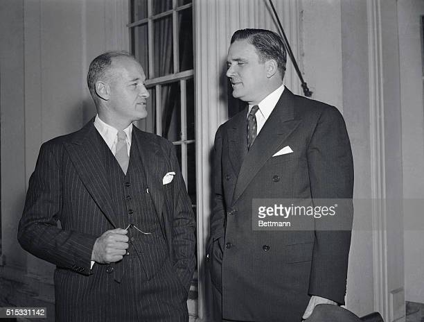 Undersecretary of State James E Webb and George F Kennan State Department counsellor went to the White House to give President Truman a fillin on...