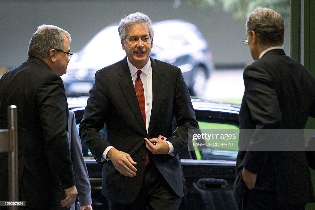 US Undersecretary of State William Burns arrives on January 11, 2013 for a meeting at the United Nations office in Geneva. UN peace envoy Lakhdar Brahimi is to meet with Russian Deputy Foreign Minister Mikhail Bogdanov and Burns to discuss ways of ending the 21-month conflict in Syria.