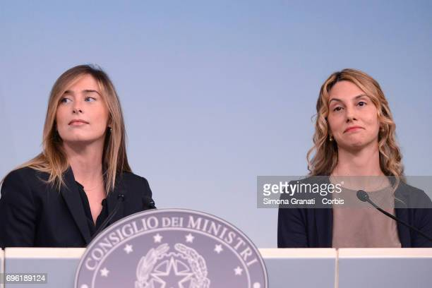 Undersecretary of the Presidency of the Council Maria Elena Boschi and Minister for Simplification and Public Administration Marianna Madia present...