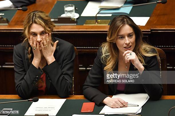 Undersecretary to the Prime Minister Maria Elena Boschi and Public Administration and Simplification Minister Marianna Madia are pictured before a...