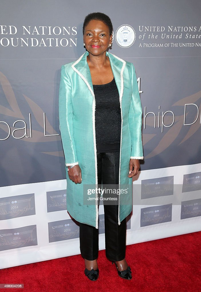 UnderSecretaryGeneral and Emergency Relief Coordinator for the United Nations Valerie Amos attends the 2014 Global Leadership Dinner at Cipriani 42nd...