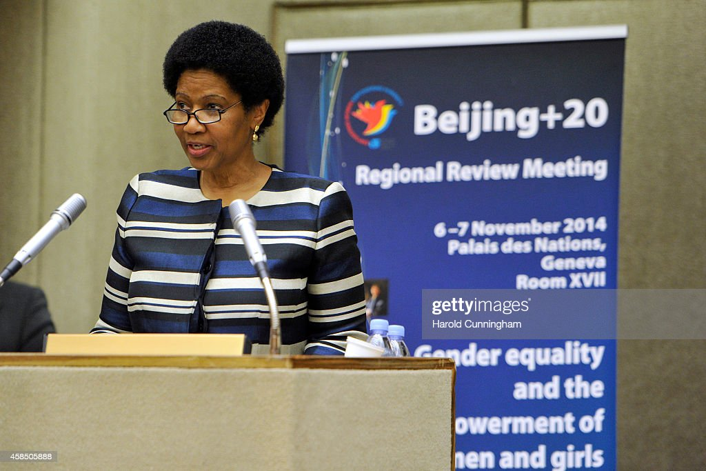 Under-Secretary-General and Executive Director of UN Women Phumzile Mlambo-Ngcuka speaks during the regional review meeting of the status of women in the UNECE region 20 years after the Beijing platform for action held at the United Nations Office at Geneva on November 6, 2014 in Geneva, Switzerland.