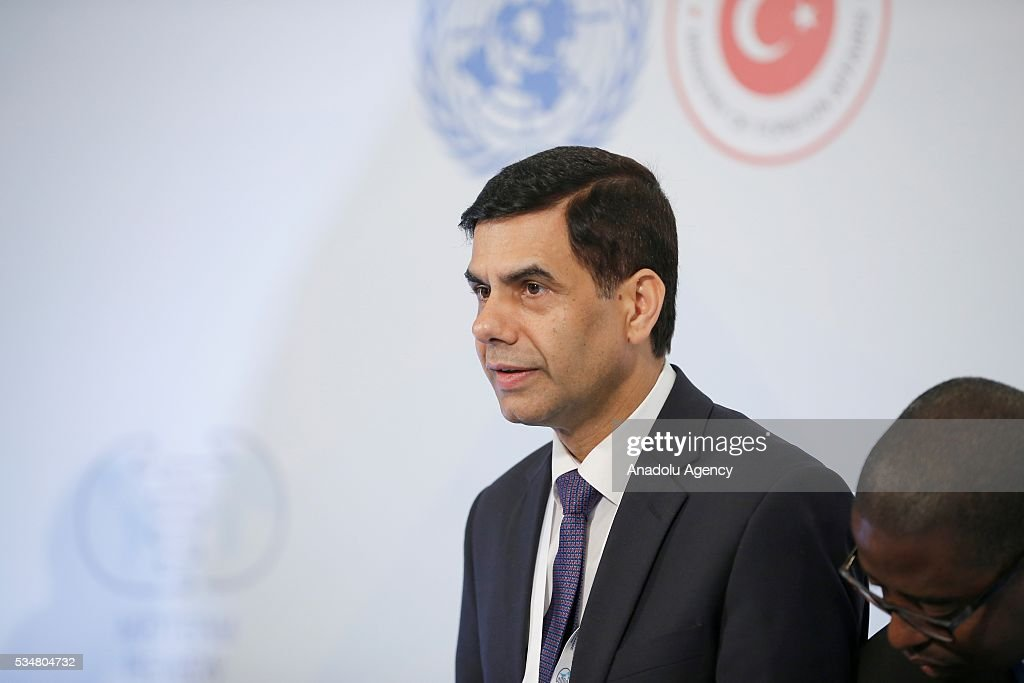 Under-Secretary-General and High Representative for the LDCs Gyan Chandra Acharya attends a press conference during the Midterm Review of the Istanbul Programme of Action at Titanic Hotel in Antalya, Turkey on May 28, 2016. The Midterm Review conference for the Istanbul Programme of Action for the Least Developed Countries takes place in Antalya, Turkey from 27-29 May 2016.