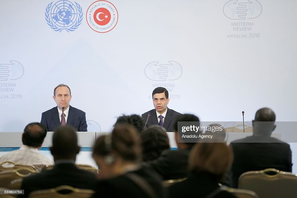 Under-Secretary-General and High Representative for the LDCs Gyan Chandra Acharya (R) attends a press conference during the Midterm Review of the Istanbul Programme of Action at Titanic Hotel in Antalya, Turkey on May 28, 2016. The Midterm Review conference for the Istanbul Programme of Action for the Least Developed Countries takes place in Antalya, Turkey from 27-29 May 2016