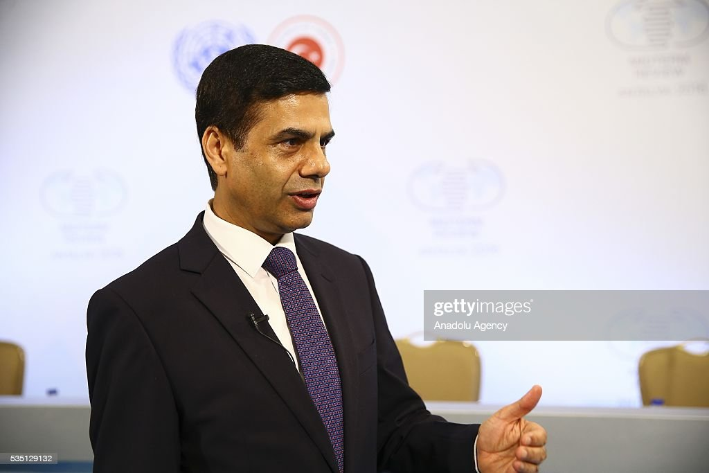 Under-Secretary-General and High Representative for the LDCs, Gyan Chandra Acharya makes a statement to the media during the Midterm Review of the Istanbul Programme of Action at Titanic Hotel in Antalya, Turkey on May 29, 2016. The Midterm Review conference for the Istanbul Programme of Action for the Least Developed Countries takes place in Antalya, Turkey from 27-29 May 2016.