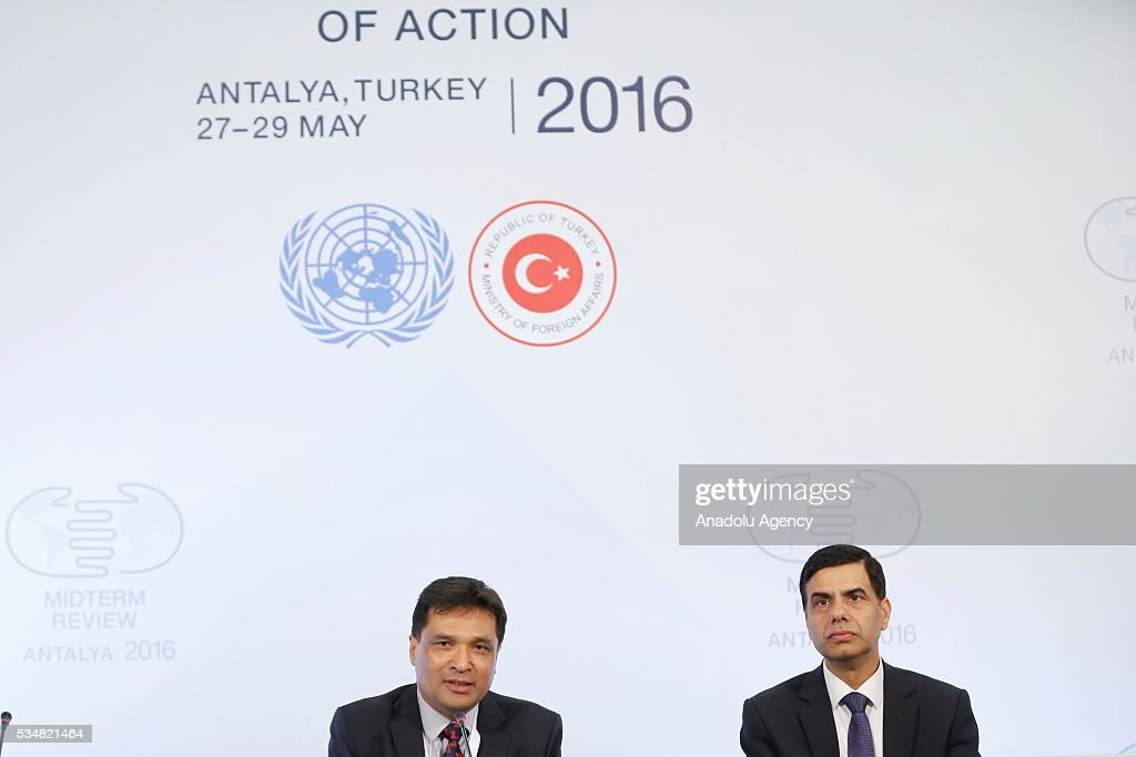 Under-Secretary-General and High Representative for the LDCs Gyan Chandra Acharya (R) and International Coordinator, LDCs Watch Gauri Pradhan (L) hold a press conference during the Midterm Review of the Istanbul Programme of Action at Titanic Hotel in Antalya, Turkey on May 28, 2016. The Midterm Review conference for the Istanbul Programme of Action for the Least Developed Countries takes place in Antalya, Turkey from 27-29 May 2016.