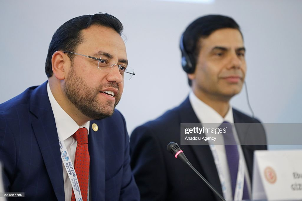 Under-Secretary-General and High Representative for the LDCs Gyan Chandra Acharya (R) and Ebubekir Gizligider (L), MP of the Turkey's ruling Justice and Development Party (AKP), take part in the parliamentary session during the Midterm Review of the Istanbul Programme of Action at Titanic Hotel in Antalya, Turkey on May 28, 2016. The Midterm Review conference for the Istanbul Programme of Action for the Least Developed Countries takes place in Antalya, Turkey from 27-29 May 2016.