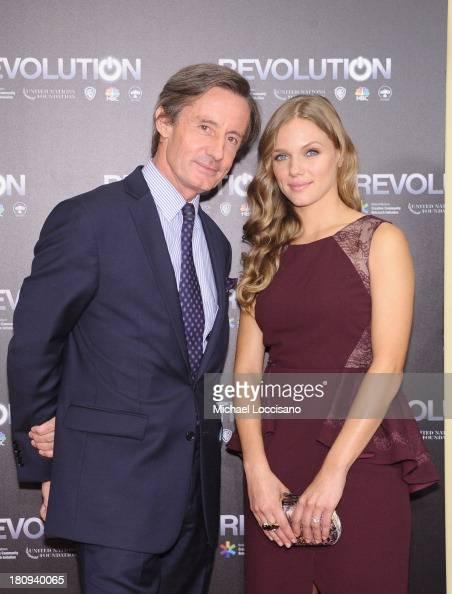 UnderSecretaryGeneral for Public Information Peter LaunskyTieffentha and actress Tracy Spiridakos attend the 'Revolution The Power of Entertainment'...