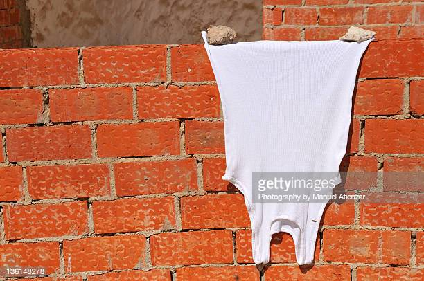 Undershirt drying on red bricks